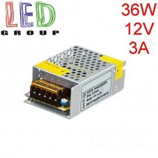 Блок питания 12V, 36W, 3А, металлический корпус, IP20, не герметичный, для внутреннего применения