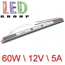 Блок питания герметичный Ultra SLIM 12V, 60W, 5A, алюминиевый корпус, IP67, герметичный, для наружного применения. Standart