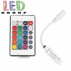 Контроллер/диммер NANO для светодиодных лент 12V RGB, 6А, с пультом IR (24 кнопки), 3 канала по 2A