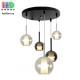 Светодиодный LED светильник, потолочный, 6-10W, подвесной, круглый, пять плафонов, цвет серый дымчатый/прозрачный/коньячный, Ø400мм