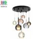 Светодиодный LED светильник, потолочный, 6-10W, подвесной, круглый, семь плафонов (3 + 4), цвет серый дымчатый/прозрачный/коньячный, Ø600мм