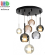Светодиодный LED светильник, потолочный, 6-10W, подвесной, круглый, семь плафонов (2 + 1+ 4), цвет серый дымчатый/прозрачный/коньячный, Ø600мм