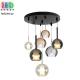 Светодиодный LED светильник, потолочный, 6-10W, подвесной, круглый, семь плафонов (2 + 5), цвет серый дымчатый/прозрачный/коньячный, Ø600мм
