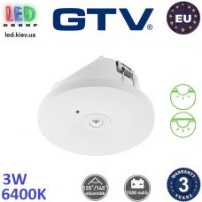 """Аварийный светодиодный LED светильник GTV, 3W (EMC+), 6400K, 200Lm, врезной/накладной, аккумулятор - на 3 часа, кнопка """"TEST"""", пластиковый, белый, Ra≥80, OGLA LED. ЕВРОПА! Гарантия - 3 года"""