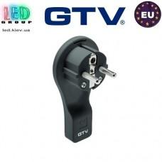 Вилка электрическая GTV (угловая, плоская), пластиковая, чёрная, 16A, 250V (без провода)