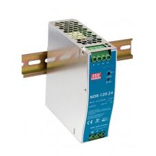 Блок питания 24V, 5A, 120W, Mean Well, NDR-120-24, металлический корпус, IP20, внутренний. На дин рейку. Гарантия - 3 года.