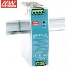 Блок питания 24V, 6.5A, 150W, Mean Well, EDR-150-24, пластиковый корпус, IP20, внутренний. На дин рейку. Гарантия - 3 года.