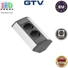 Удлинитель GTV, угловой, 2 гнезда, серебристый, алюминий + пластик, SCHUKO. ЕВРОПА!!! Гарантия - 2 года