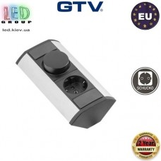 Удлинитель GTV, угловой, 1 гнездо, с регулятором цвета ССТ, серебристый, алюминий + пластик, SCHUKO. ЕВРОПА!!! Гарантия - 2 года