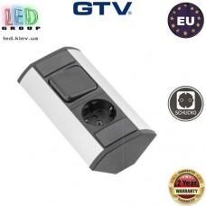 Удлинитель GTV, угловой, 1 гнездо, с выключателем, серебристый, алюминий + пластик, SCHUKO. ЕВРОПА!!! Гарантия - 2 года