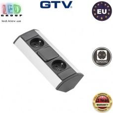 Удлинитель GTV, угловой, 2 гнезда, с выключателем, серебристый, алюминий + пластик, SCHUKO. ЕВРОПА!!! Гарантия - 2 года