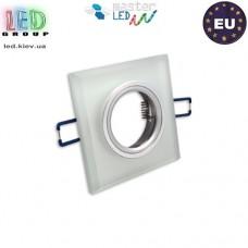 Светильник/корпус, master LED, потолочный, встраиваемый, алюминий + стекло, квадратный, белый иней, 1хGU10, Styx. Польша!