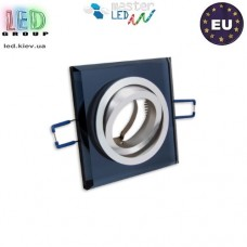 Светильник/корпус master LED, потолочный, встраиваемый, алюминий + стекло, квадратный, чёрный. Польша!