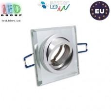 Потолочный светильник/корпус, master LED, встраиваемый, алюминий + стекло, квадратный, белый, 1хGU10. ЕВРОПА!