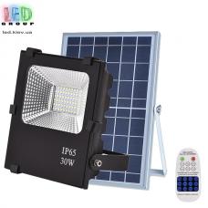 Светодиодный LED прожектор, на солнечной батарее с пультом, IP66 - 30W