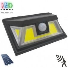 Светодиодный LED светильник, на солнечной батарее с датчиком движения - 10W, чёрный. 2 режима