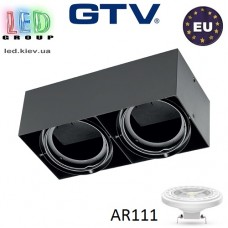 Светильник/корпус GTV, накладной, под лампу AR111, поворотный, квадратный, чёрный, двойной, PIREO N. ПОЛЬША!!!