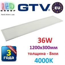 Светодиодная LED панель GTV, 36W, 4000К, IP44, толщина - 8мм, 1200х300мм, PREMIO. ПОЛЬША!!! Premium. Гарантия - 3 года