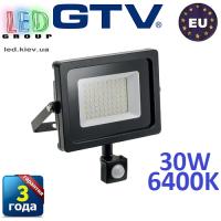 Светодиодный LED прожектор с датчиком движения, GTV, 30W, IP65, 6400K, iNEXT. ЕВРОПА!!! Гарантия – 3 года