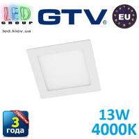 Светодиодный светильник GTV, 13W, 4000К, квадратный, встраиваемый, MATIS. ПОЛЬША!