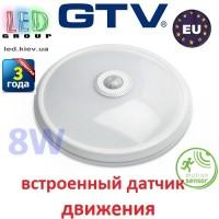 Светодиодный LED светильник GTV с датчиком движения, 8W (ЕМС +), 4000K, ITALIA-M. ПОЛЬША!!! Гарантия - 3 года