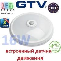 Светодиодный LED светильник GTV с датчиком движения, 16W, 4000K, ITALIA-M. ПОЛЬША!!! Гарантия - 3 года
