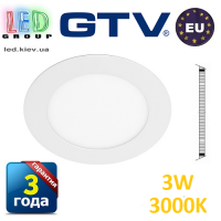 Светодиодный светильник GTV, 3W (ЕМС +), 3000К, круглый, встраиваемый, ORIS. ПОЛЬША!!! Гарантия - 3 года