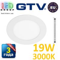 Светодиодный светильник GTV, 19W (EMC+), 3000К, круглый, встраиваемый, ORIS. ПОЛЬША!!! Гарантия - 3 года