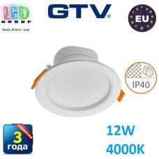 Светодиодный светильник GTV, 12W (ЕМС +), 4000К, IP40, круглый, встраиваемый, TORONTO. ЕВРОПА!!!