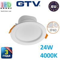 Светодиодный светильник GTV, 24W (ЕМС +), 4000К, IP40, круглый, встраиваемый, TORONTO. ПОЛЬША!!! Гарантия - 3 года