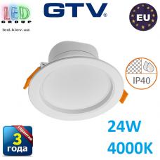 Светодиодный светильник GTV, 24W (ЕМС +), 4000К, IP40, круглый, встраиваемый, TORONTO. ЕВРОПА!!!