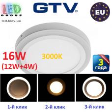 Светодиодный LED светильник GTV, 3 в 1, 16W (12W+4W) EMC+, накладной, TWINS. ПОЛЬША!!!