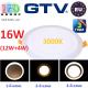 Светодиодный LED светильник GTV, 3 в 1, 16W (12W+4W) EMC+, 3000К, врезной, TWINS. ЕВРОПА!!!