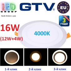 Светодиодный LED светильник GTV, 3 в 1 (16W-12W-4W), 4000К, врезной, TWINS. ПОЛЬША!!! Гарантия - 3 года