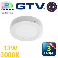 Светодиодный LED светильник GTV, 13W (ЕМС+), 3000К, круглый, накладной, IP20, ORIS. ПОЛЬША!!! Гарантия - 3 года