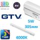 Светодиодный LED светильник GTV, 5W, 305мм, накладной, с выключателем, 4000К, IP40, OPD. ПОЛЬША!