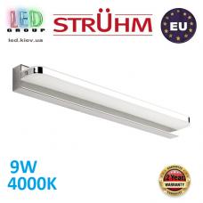 Настенный светодиодный светильник, Strühm Poland, 9W, 4000K, накладной, нержавеющая сталь + акриловое стекло, прямоугольный, хром, RA≥80, REGAL LED. ЕВРОПА