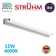 Настенный светодиодный светильник, Strühm Poland, 12W, 4000K, накладной, нержавеющая сталь + акриловое стекло, прямоугольный, хром, RA≥80, REGAL LED. ЕВРОПА