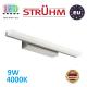 Настенный светодиодный светильник, Strühm Poland, 9W, 4000K, накладной, нержавеющая сталь + акриловое стекло, прямоугольный, хром + серебряный, RA≥80, RUMBA LED. ЕВРОПА