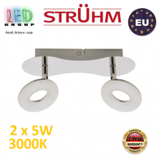 Настенный светодиодный светильник, Strühm Poland, 2x5W, 3000K, накладной, нержавеющая сталь + пластмасса, хром, RA>80, DONAT LED. Польша!