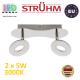 Настенный светодиодный светильник, Strühm Poland, 2x5W, 3000K, накладной, нержавеющая сталь + пластик, хром, RA≥80, DONAT LED. ЕВРОПА