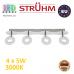 Настенный светодиодный светильник, Strühm Poland, 4x5W, 3000K, накладной, нержавеющая сталь + пластмасса, хром, RA>80, DONAT LED. ЕВРОПА!