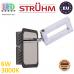 Настенный светодиодный светильник, Strühm Poland, 6W, 3000K, накладной, нержавеющая сталь + пластик, хром + венге, RA≥80, KENT LED. ЕВРОПА
