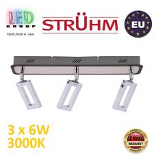 Настенный светодиодный светильник, Strühm Poland, 3x6W, 3000K, накладной, нержавеющая сталь + пластик, хром + венге, RA≥80, KENT LED. ЕВРОПА