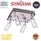 Настенный светодиодный светильник, Strühm Poland, 4x6W, 3000K, накладной, нержавеющая сталь + пластик, хром + венге, RA≥80, KENT LED. ЕВРОПА