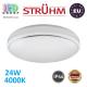 Потолочный светодиодный светильник, Strühm Poland, IP44, 24W, 4000K, накладной, сталь + пластик, круглый, белый, RA≥80, SOLA LED. ЕВРОПА