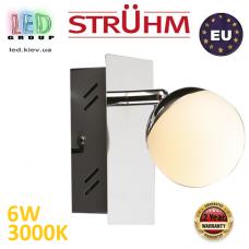 Настенный светодиодный светильник, Strühm Poland, 6W, 3000K, накладной, нержавеющая сталь + стекло, хром, RA≥80, NELI LED. ЕВРОПА
