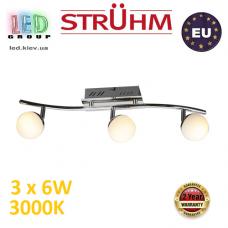 Настенный светодиодный светильник, Strühm Poland, 3x6W, 3000K, накладной, нержавеющая сталь + стекло, хром, RA>80, NELI LED. ЕВРОПА!