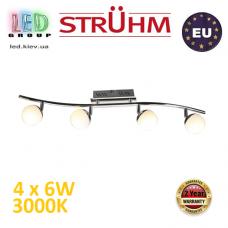 Настенный светодиодный светильник, Strühm Poland, 4x6W, 3000K, накладной, нержавеющая сталь + стекло, хром, RA≥80, NELI LED. ЕВРОПА