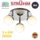 Потолочный светодиодный светильник, Strühm Poland, 3x6W, 3000K, накладной, нержавеющая сталь + стекло, круглый, хром, RA≥80, NELI LED. ЕВРОПА